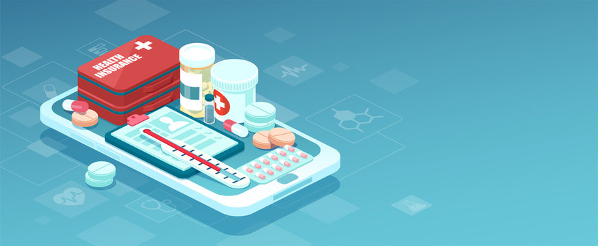 Vector of prescription drugs, first aid kit and medical supplies being sold online via smartphone application technology