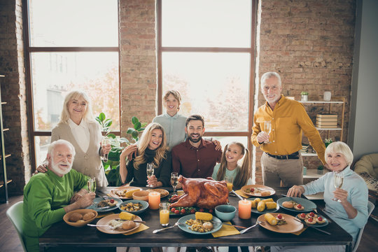 Photo of big family sitting hugging feast table holiday roasted turkey making portrait eight relatives wife husband multi-generation raise wine glasses in living room indoors