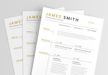Simple Resume Layout with Gold Accents