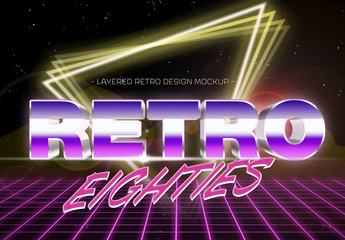 Eighties Chrome and Neon Text Effect