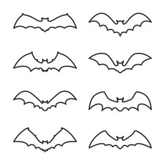 set of bat outline icons