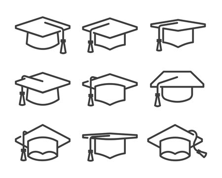 graduation cap icon set line style