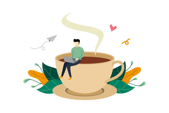 Coffee break, man sitting on huge coffee cup activity flat illustration vector template, suitable for background, banner, landing page, ui, ux, advertising illustration