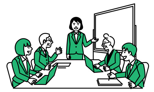Business women giving a presentation at a meeting. Vector illustration.