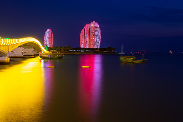 China. Hainan island. Night view of the bay