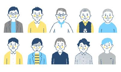 男性 10人 上半身 ブルー