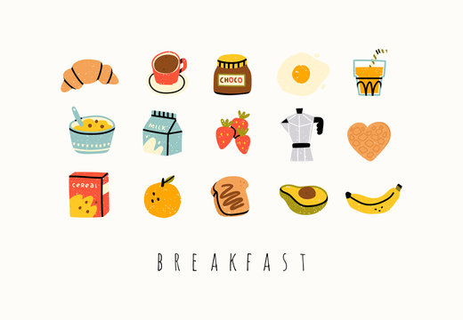 Healthy breakfast. Various tasty food and drinks. Cute hand drawn icons and logos. Trendy vector illustrations. Cartoon style. Flat design. All elements are isolated