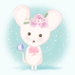 Cute mouse with bird hand drawn animal illustration watercolor on green