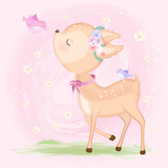 Cute baby deer with bird hand drawn animal illustration watercolor on pink