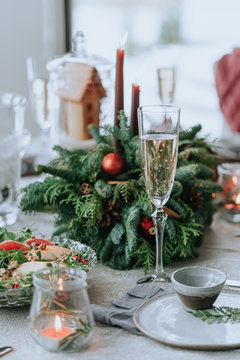 Festively decorated Christmas table for dinner