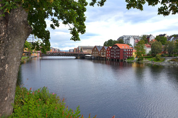 Wooden Colorful Houses Along the River in Trondheim, Norway