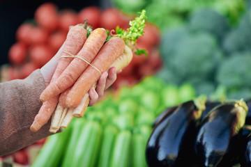 Girl is holding carrot on green market
