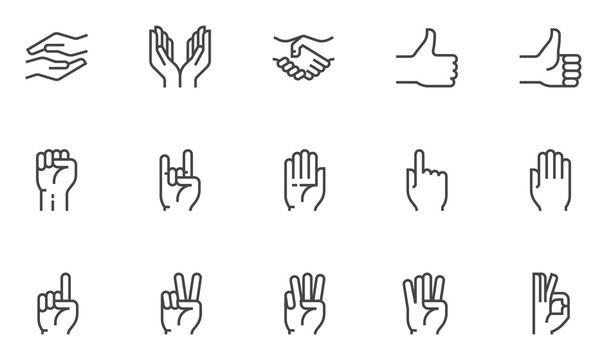 Hands vector line icons set. Hand gestures, signals. Editable stroke. 48x48 Pixel Perfect.