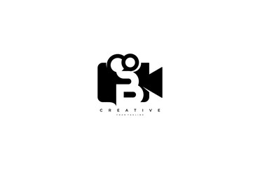 Letter B video camera logo design simple minimalist