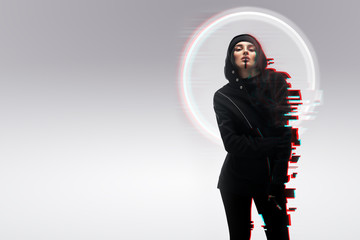 Beautiful girl with neon hologram glitch effect
