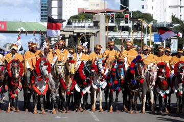 Ethiopian men ride horses during the opening ceremony of Irreecha celebration in Addis Ababa