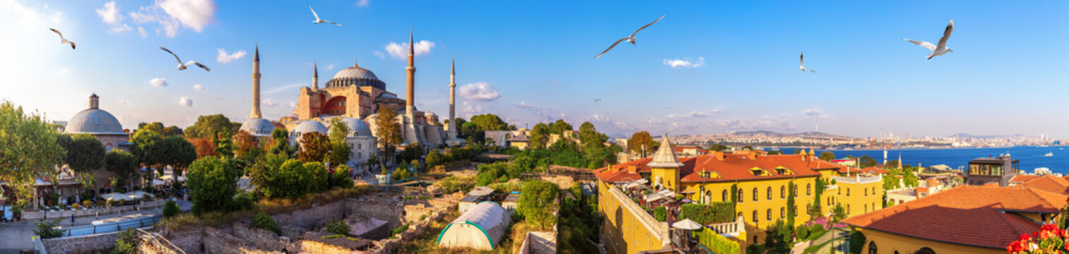 Hagia Sofia, old Turkish Hammam and the Bosphorus, beautiful Istanbul panorama