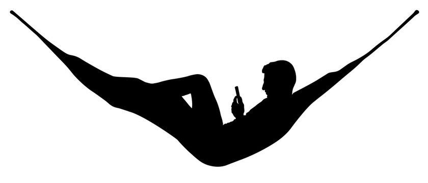 Man relaxing lying in hammock. Vector silhouette