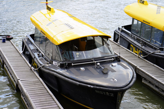 Water taxi in the parking lot. Water taxi in Rotterdam. A faster option for transportation within and outside Rotterdam. 7 September 2018. Rotterdam. Netherlands