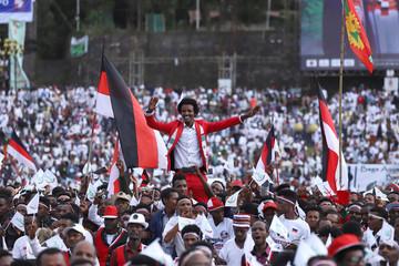 Ethiopian men chant slogans during the opening ceremony of Irreecha celebration in Addis Ababa
