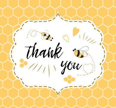 Baby shower invitation template with text Thank you with bee, honey. Cute card design for girls boys