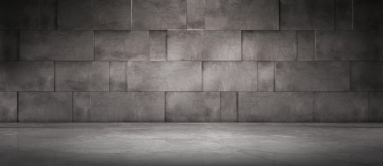 Dark Concrete Wall Background with Spotlight Floor - Empty Room Scene for Car or Product Placement or Presentation