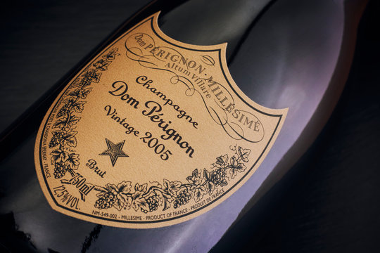 Tambov, Russian Federation - August 14, 2018 Close-up of Bottle of Champagne Dom Perignon Vintage 2005. Black background.