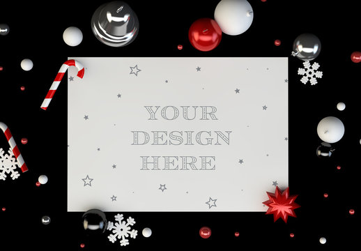 Christmas Greeting Card Mockup with Black Background