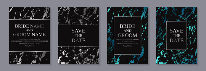 Set of modern geometric luxury wedding invitation design or card templates for business or presentation or greeting with silver and blue marble texture or paint splashes on a black background.
