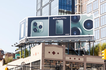 New York, New York, USA - October 1, 2019: iPhone 11 Billboard over the Apple Store in the Meatpacking District.
