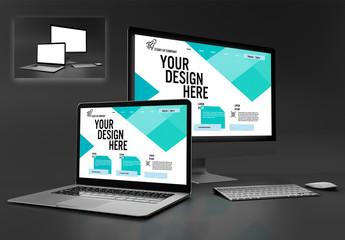 Laptop and Desktop Computer Mockup on Dark Background
