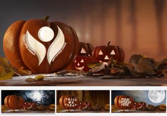 Carved Halloween Pumpkin Mockup