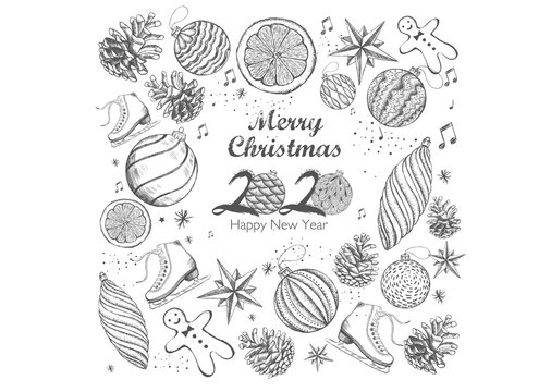 Christmas and 2020 New Year set. Hand drawn illustration.