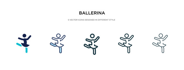 ballerina icon in different style vector illustration. two colored and black ballerina vector icons designed in filled, outline, line and stroke style can be used for web, mobile, ui