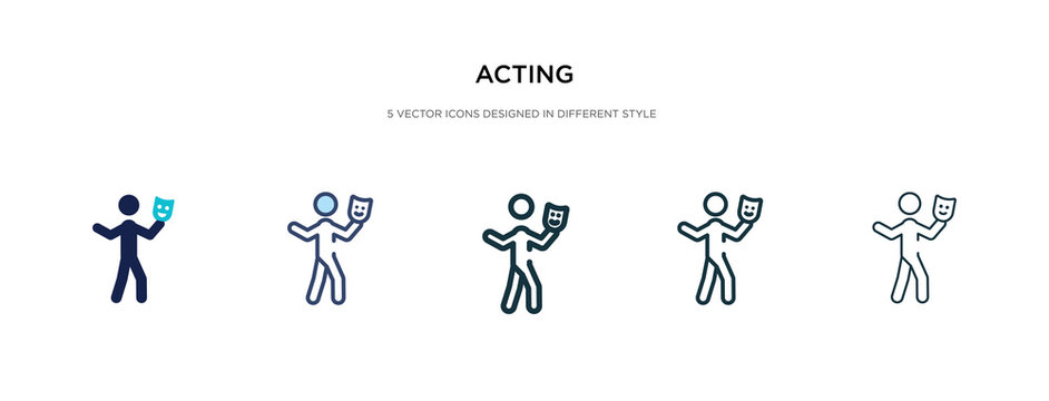 acting icon in different style vector illustration. two colored and black acting vector icons designed in filled, outline, line and stroke style can be used for web, mobile, ui