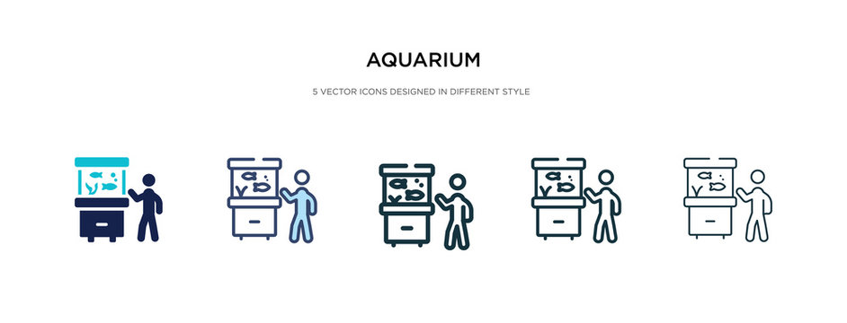 aquarium icon in different style vector illustration. two colored and black aquarium vector icons designed in filled, outline, line and stroke style can be used for web, mobile, ui