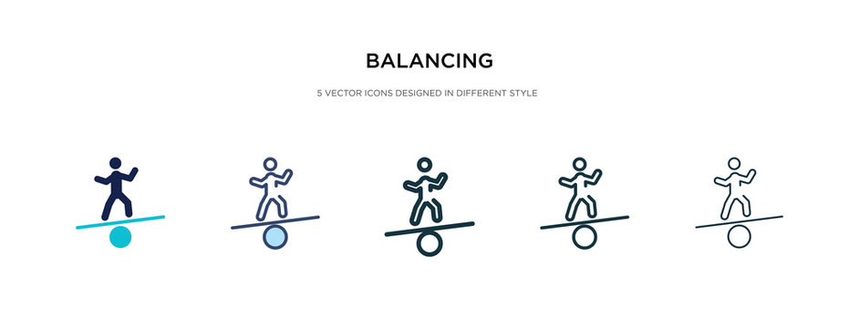 balancing icon in different style vector illustration. two colored and black balancing vector icons designed in filled, outline, line and stroke style can be used for web, mobile, ui