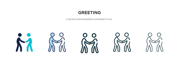greeting icon in different style vector illustration. two colored and black greeting vector icons designed in filled, outline, line and stroke style can be used for web, mobile, ui