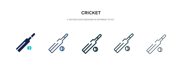 cricket icon in different style vector illustration. two colored and black cricket vector icons designed in filled, outline, line and stroke style can be used for web, mobile, ui