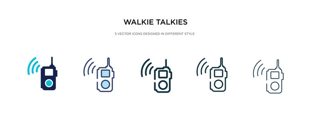 walkie talkies icon in different style vector illustration. two colored and black walkie talkies vector icons designed in filled, outline, line and stroke style can be used for web, mobile, ui