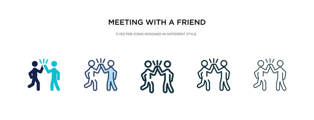 meeting with a friend icon in different style vector illustration. two colored and black meeting with a friend vector icons designed in filled, outline, line and stroke style can be used for web,