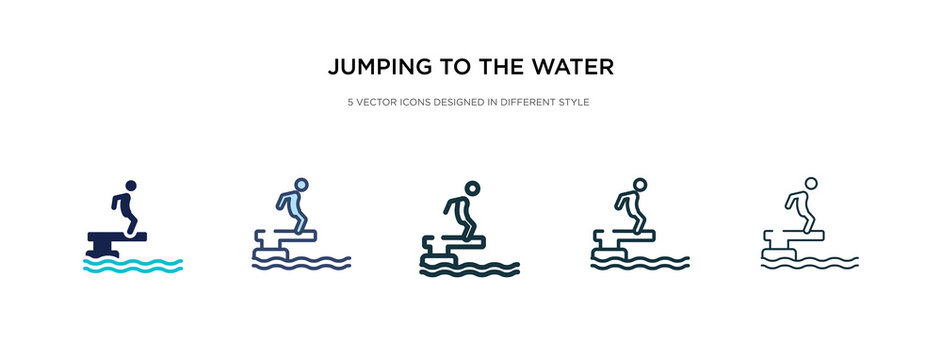 jumping to the water icon in different style vector illustration. two colored and black jumping to the water vector icons designed in filled, outline, line and stroke style can be used for web,