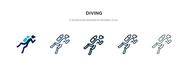 diving icon in different style vector illustration. two colored and black diving vector icons designed in filled, outline, line and stroke style can be used for web, mobile, ui