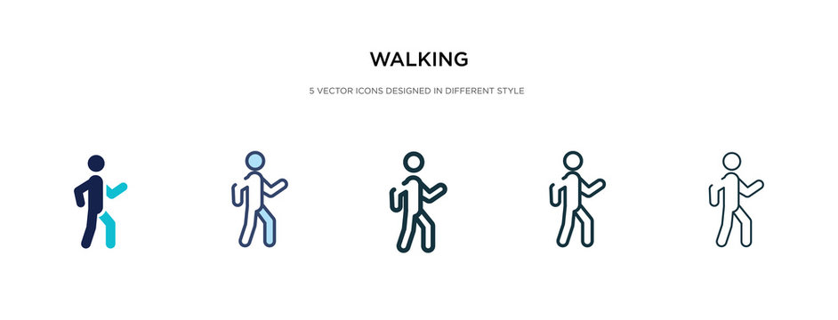 walking icon in different style vector illustration. two colored and black walking vector icons designed in filled, outline, line and stroke style can be used for web, mobile, ui