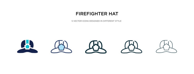 firefighter hat icon in different style vector illustration. two colored and black firefighter hat vector icons designed in filled, outline, line and stroke style can be used for web, mobile, ui