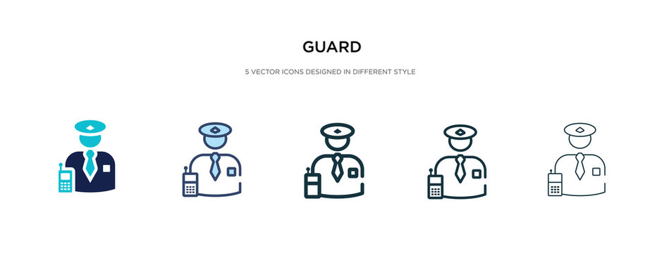 guard icon in different style vector illustration. two colored and black guard vector icons designed in filled, outline, line and stroke style can be used for web, mobile, ui