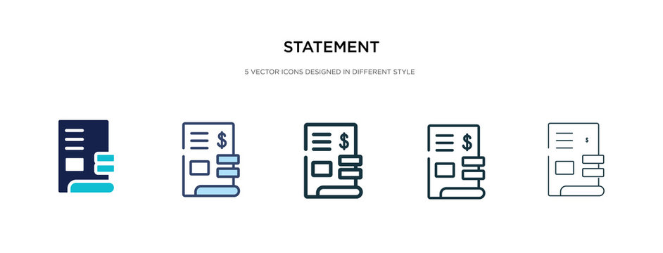 statement icon in different style vector illustration. two colored and black statement vector icons designed in filled, outline, line and stroke style can be used for web, mobile, ui