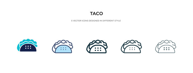 taco icon in different style vector illustration. two colored and black taco vector icons designed in filled, outline, line and stroke style can be used for web, mobile, ui