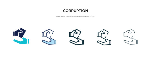 corruption icon in different style vector illustration. two colored and black corruption vector icons designed in filled, outline, line and stroke style can be used for web, mobile, ui