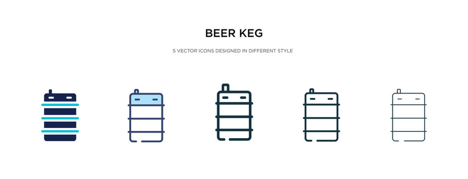 beer keg icon in different style vector illustration. two colored and black beer keg vector icons designed in filled, outline, line and stroke style can be used for web, mobile, ui
